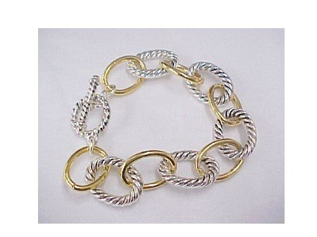 Two Tone Toggle Bracelet-Gold & Silver
