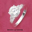 Cubic Zirconia 8mm Solitaire Ring with Princess Cut Sides