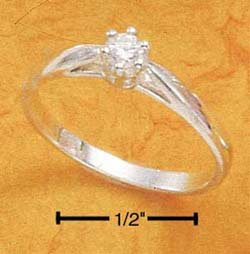 Cubic Zirconia 3MM Solitair in Sterling Silver