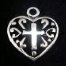 Heart Charm With Cross CLEARANCE 1/2 OFF