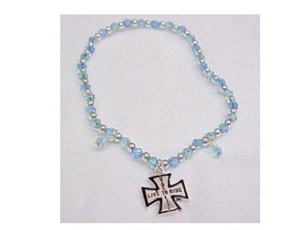 Biker Beaded Blue Bracelet Two Dollar Closeout