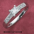 Sterling Silver Rhodium Plated Cubic Zirconia Solitaire