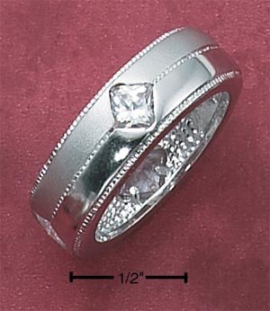 Sterling Silver Cubic Zirconia Satin & High Polish Diamond Band