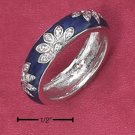Sterling Silver Ring with Blue Enamel Flowers