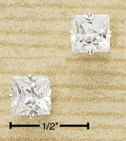 Cubic Zirconia Square Stone Post Earrings
