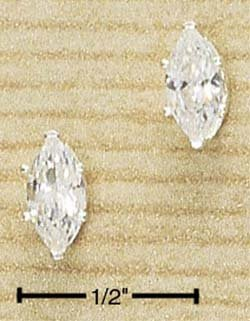 Cubic Zirconia Marquise Post Earrings