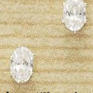 Cubic Zirconia Oval Post Earrings