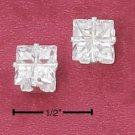 Cubic Zirconia Square Studs 6mm Stones