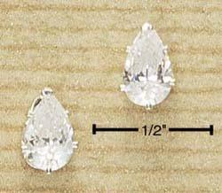 Cubic zirconia 8mm Tear Drop Earrings