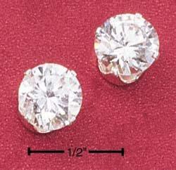 Cubic Zirconia 8mm Round Post Earrings