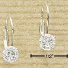 Cubic Zirconia Round Leverback Earrings