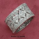 Cubic Zirconia Sterling Silver Rhodium Wide Pave Cut Ring