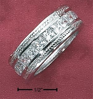 Cubic Zirconia Channel Set Princess Cut 9mm Ring