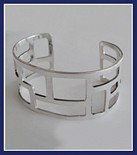Sterling Silver Windows Cuff Bangle