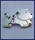 Sterling Silver Running Puppy Dog Brooch