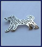 Sterling Silver Symbols Dog Brooch
