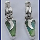 Sterling Silver Green Blown Glass Triangle Earrings EASL032