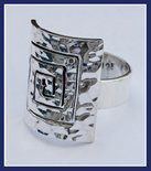 Sterling Silver Labyrinth in Hammered Square Ring RNG138