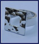 Sterling Silver Hammered Square Frame Ring #RNG134