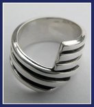 Sterling Silver Two Channels Overlapped Ring #RNG080