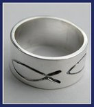 Sterling Silver Engraved Fishes Ring #RNG084