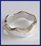 Sterling Silver Hammered Wave Ring #RNG126