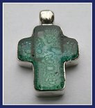 Sterling Silver Green Blown Glass Cross Pendant