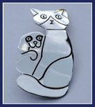 Sterling Silver Cat and Dog Brooch