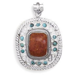 Coral Center Pendant With Turquoise Edge Design
