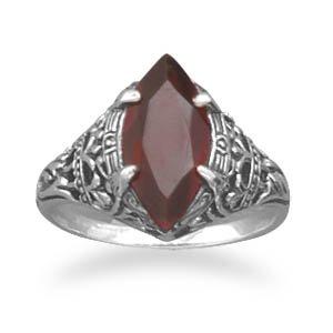 Oxidized Garnet Ring