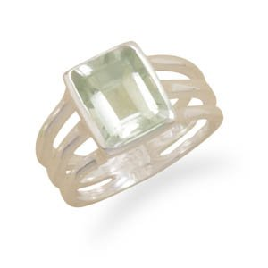 Green Amethyst Triple Thin Band Ring