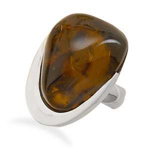 Freeform Baltic Amber Ring