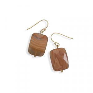 Agate Gold Tone Faceted Fashion Earrings