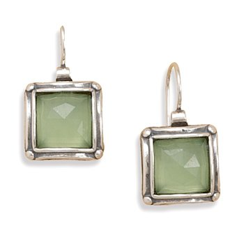 Quarts Green Apple Faceted Earrings