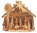 Nativity Large Olive Wood Stable w 12 pc Detailed Traditional Nativity Figures