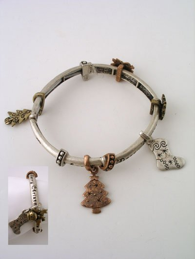Christmas  Theme Two Tone Strechy Bracelet With Charms