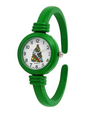 Santa or Christmas Tree Cuff Watch with Red Or Green Band
