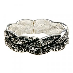 Embossed Vines Bracelet Silver Tone Fashion Bracelet