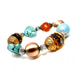 Aqua Balls, Chinese Turquoise and Glass Amber Bracelet