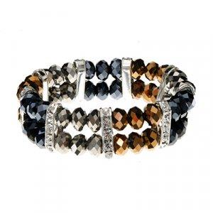 Dark Gold, Silver, and Hematite Tone Bracelets With CZ 45588