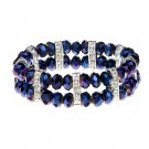 Blue Purple CrystallineCZs on Polished Silver Tone Accents Stretch Band Bracelet 45585