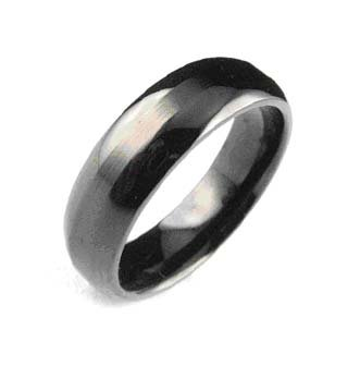 Stainless Steel Polished Black Ring 13319