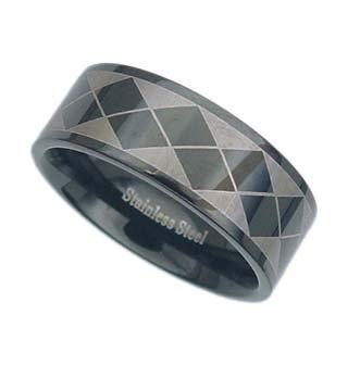 Stainless Steel Polished Black Ring with Design