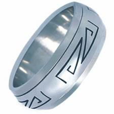 Stainless Steel Polished Aztec Design Ring