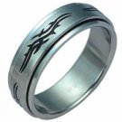 Stainless Steel Tribal Design Spinner Ring