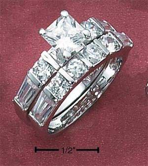 Cubic Zirconia Princess Cut Wedding Ring Set