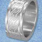 Stainless Steel 10mm Laser Etched Wavy Design Band