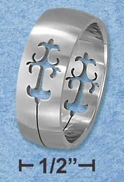 Stainless Steel Cut Out Design Brushed 8mm Band
