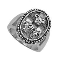 Biker 3 Skull Ring Stainless Steel 13130