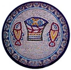 Loaves and Fishes Armenian Pottery Plate 9""